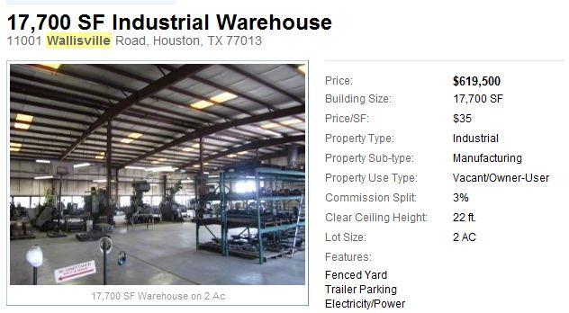 11001 Wallisville Warehouse for Sale