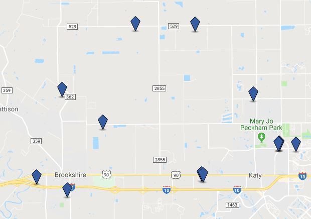 Map of Currently Available Warehouses in Katy, TX